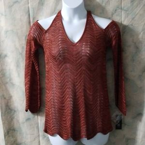 NWT INC copper chevron cold shoulder sweater sz Lg